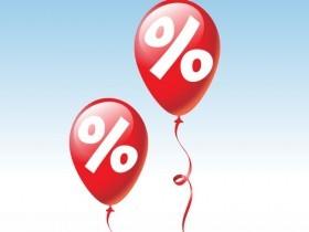 imagem extraída do google sem restrição de uso e compartilhamento - balões vermelho com símbolo de percentagem