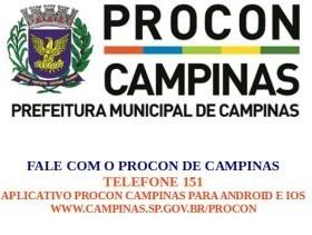 imagem do logo e contatos do PROCON da Prefeitura de Campinas