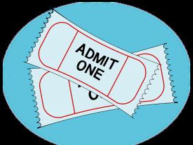 imagem de dois tickets na cor branca com fundo azul. No ticket está escrito admit one. A imgem foi extraída do google sem restrição de uso e compartilhamento